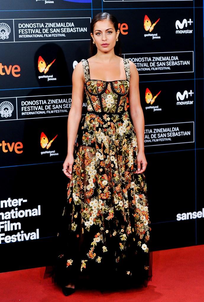 Hiba Abouk at the 65th San Sebastian Film Festival at Kursaal, September 2017.