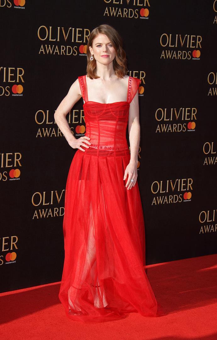 Rose Leslie at the 2017 Olivier Awards in London, April 2017.