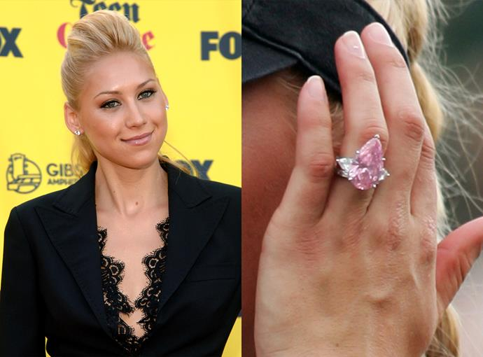 ***Anna Kournikova***  Anna Kournikova actually has two huge engagement rings from Enrique Iglesias, but this pink diamond is the biggest at 11 carats.