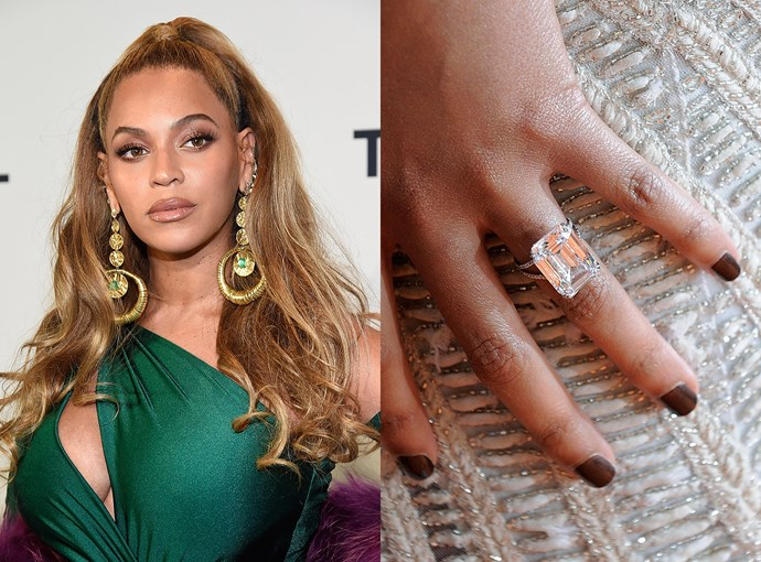 ***Beyoncé***  Beyoncé's 18-carat emerald-cut ring was reportedly worth over $6.5 million.