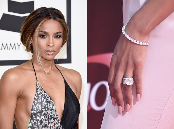 ***Ciara***  NFL quarterback Russell Wilson gave his girlfriend Ciara this 16-carat ring in 2016.