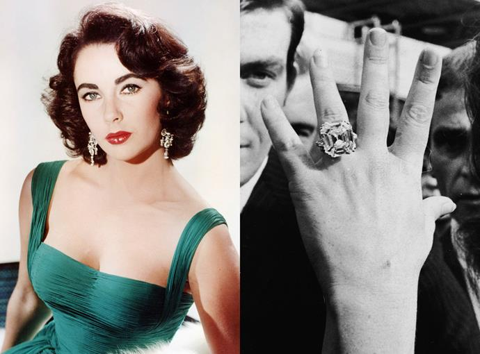 ***Elizabeth Taylor***  Maybe the most famous (but definitely the biggest) celebrity engagement ring ever, Elizabeth Taylor's square diamond ring was 33.1 carats and worth reportedly $11.4 million at the time.