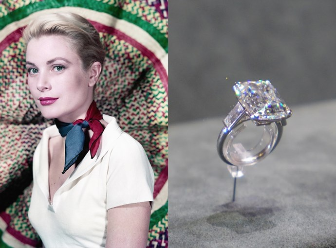 ***Grace Kelly***  Grace Kelly received quite a sparkler from Prince Rainier III before she became Princess Grace. Her emerald-cut ring was 10.47 carats and was worth $5.2 million.