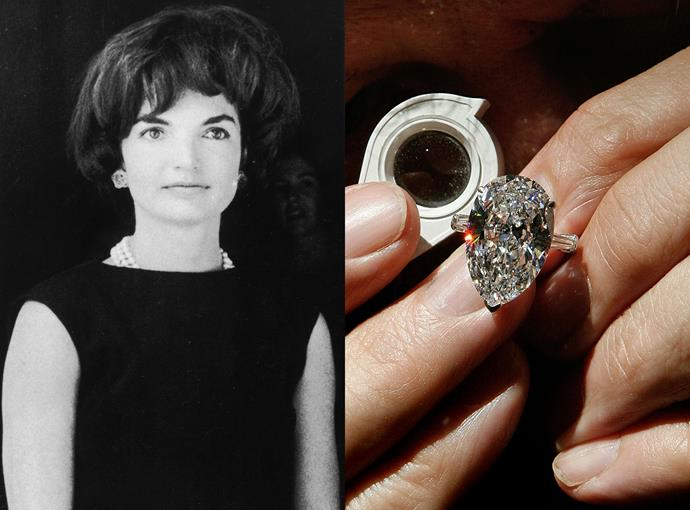 ***Jackie Onassis***  For her second marriage to tycoon Aristotle Onassis, Jackie Kennedy received this huge 40-carat marquise cut, VS2 clarity diamond that was cut from a 601-carat diamond. After Jackie's death it was sold for $3.3 million.
