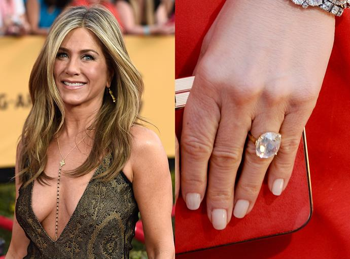 ***Jennifer Aniston***  Justin Theroux proposed to Jennifer Aniston in 2012 with an 8-carat radiant-cut diamond ring.
