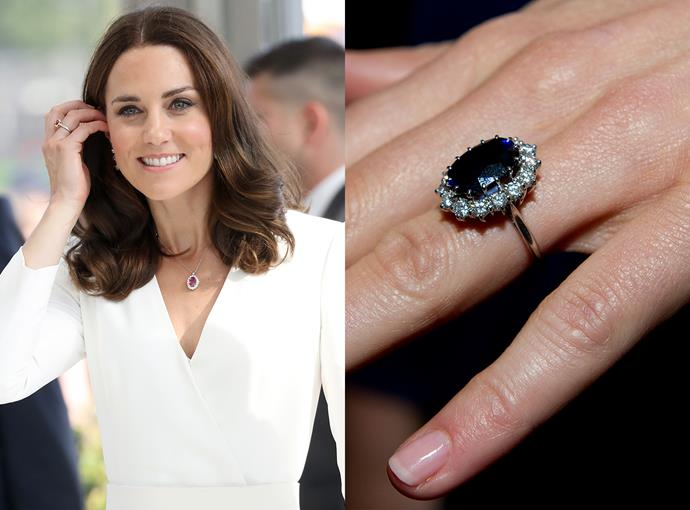 ***Catherine, Duchess of Cambridge***  Kate Middleton's ring might be the most recognisable in the world, as it once belonged her mother-in-law, Diana, Princess of Wales. The 18-carat sapphire, which is surrounded by 14 solitaire-cut diamonds and is set in white gold, was picked by the Princess from a Gerrard catalogue.