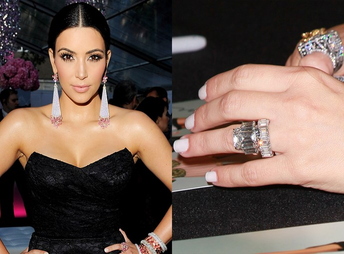 ***Kim Kardashian***  Kim Kardashian's first engagement ring, from Kris Humphries for their 72-day marriage, was a whopping 16.2 carats and was worth $2.6 million.