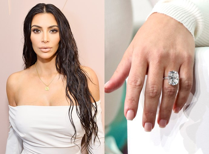 ***Kim Kardashian***  The one she received from Kanye West was slightly smaller at 15-carats.