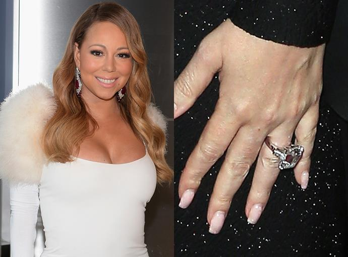 ***Mariah Carey***  Although she has since broken up from her billionaire fiancé James Packer, Mariah Carey kept her 35-carat diamond ring.