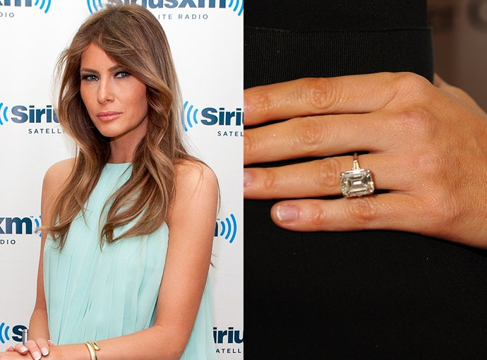 ***Melania Trump***  The First Lady put her 15-carat emerald-cut ring on display in her official portrait.