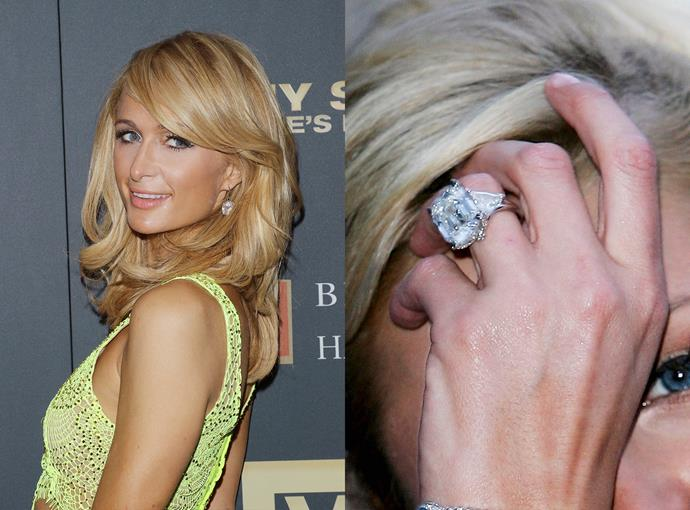 ***Paris Hilton***  For her short-lived engagement to Paris Latsis, Paris Hilton received an eye-watering 24-carat ring with over $5 million.
