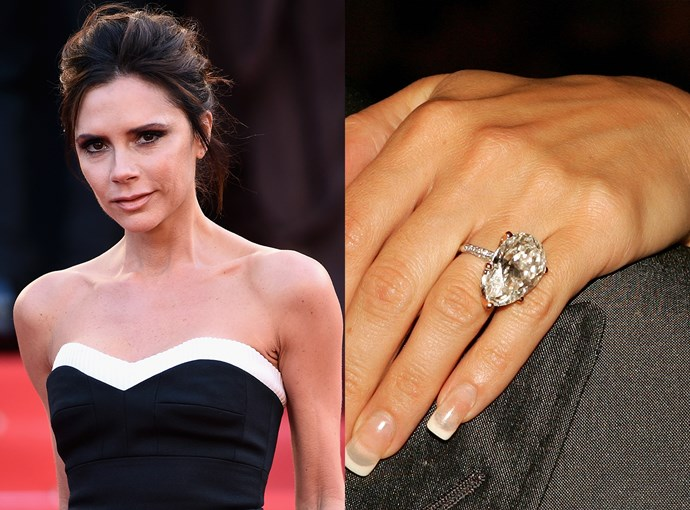 ***Victoria Beckham***   Even though Victoria Beckham has had 13 (yes, 13) different engagement rings throughout her almost-20 years of marriage, this 17-carat pear-cut diamond is special.