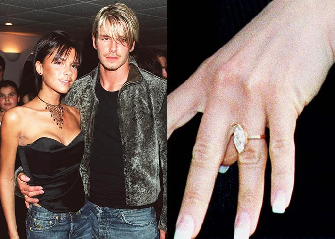 ***1998: The marquise-cut diamond on a yellow gold band***  When David Beckham first proposed to Victoria in 1998, he did so with a three-carat marquise-cut diamond set on a plain yellow gold band. The ring reportedly cost around $85,000 at the time.