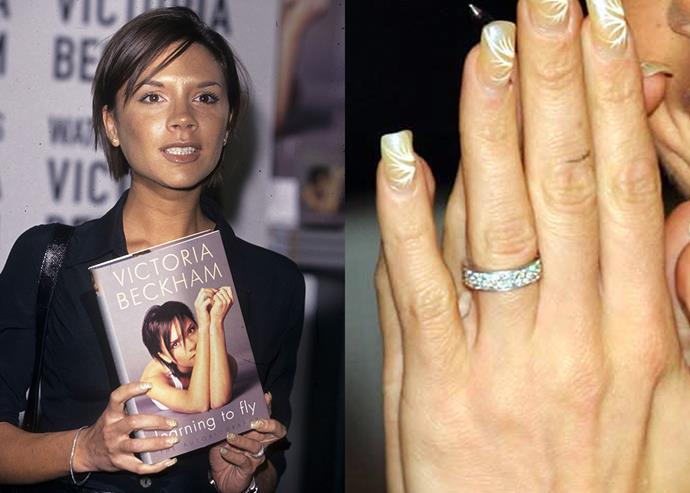 ***2001: The platinum eternity band***  After her marriage, Beckham stopped wearing her marquise-cut diamond and moved onto a platinum set eternity band for around 18 months. The plain design which featured a bevelled edge and white diamonds was the only single band she wore.