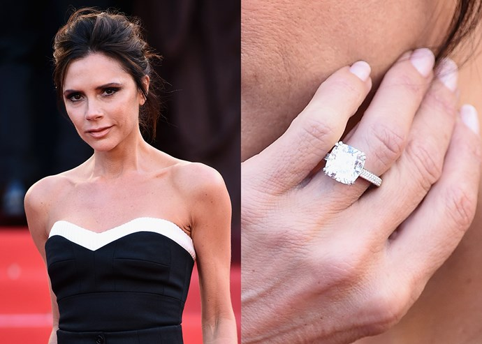 ***2016: The square-cut diamond on a platinum pave band***   In 2016, she received a simple square-cut diamond mounted on a platinum pave band. She debuted it at Cannes in 2016.