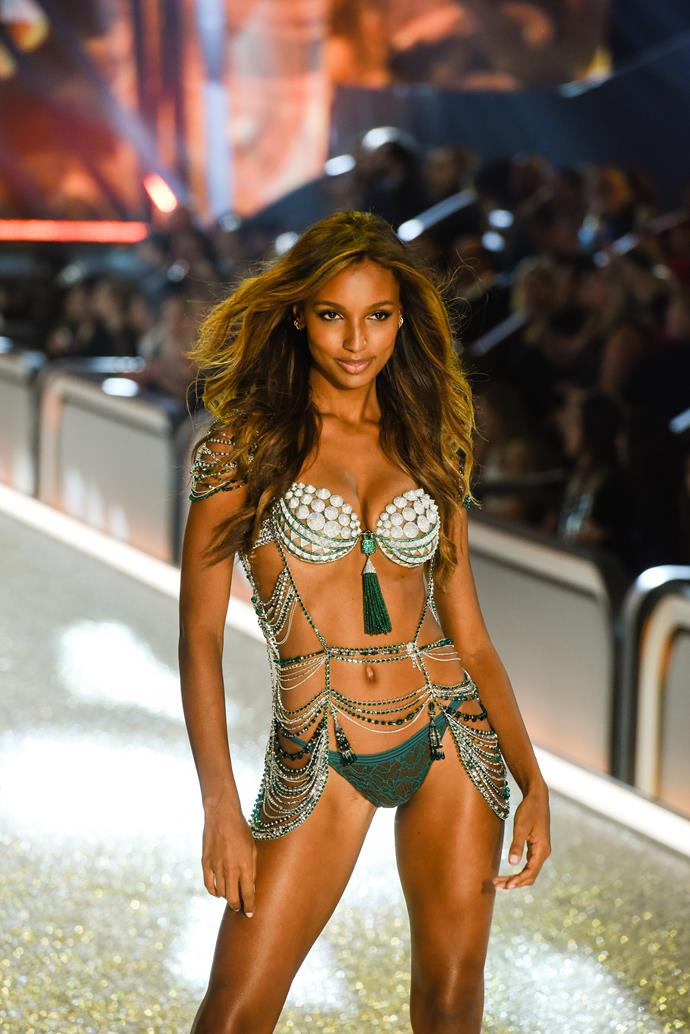 **2016: Bright Nights Fantasy Bra**<br> Angel: Jasmine Tookes<br> Value: $3 million<br><br>  Veteran Angel Jasmine Tookes wore an emerald green bra worth $3 million made of 450 carats of diamonds, which included a bodice constructed of 27,000 Swarovski crystals.