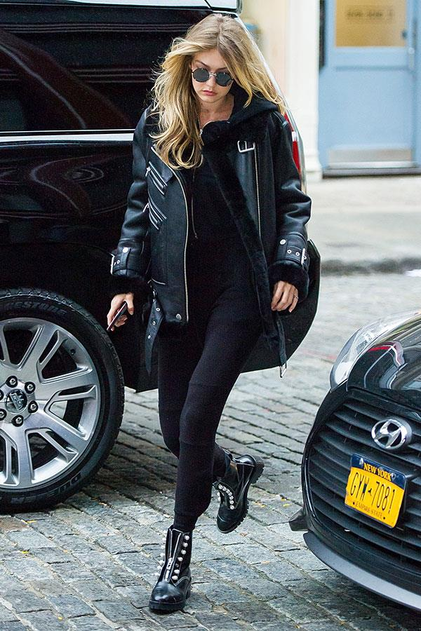 Sporting the ultimate aviator jacket by Moya and rockstar boots in New York City.