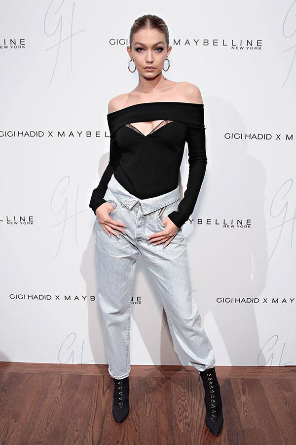 Wearing a Jean Atelier bodysuit at the launch of her Gigi Hadid x Maybelline New York beauty line.