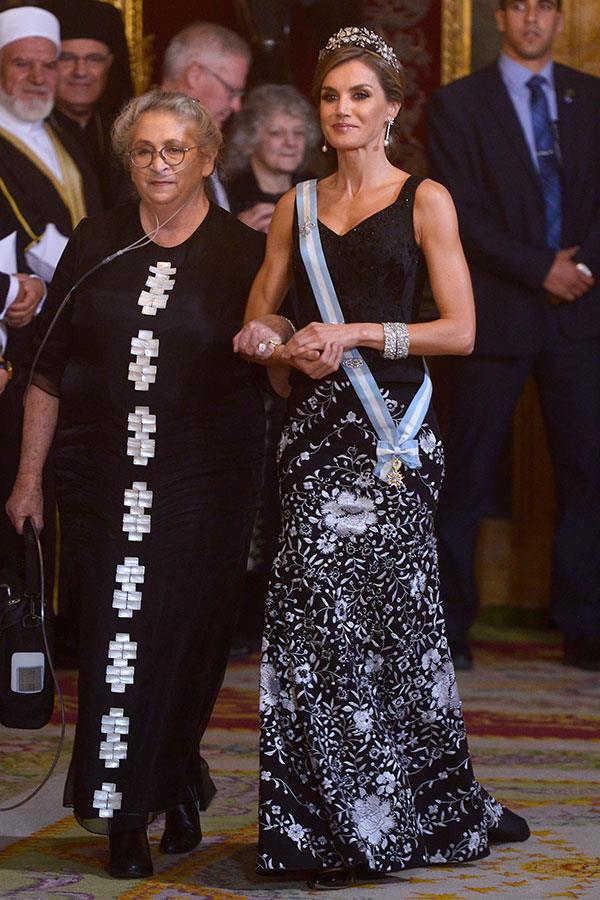 6th November, 2017 - At a state dinner in the Royal Palace of Madrid wearing Lorenzo Caprile.