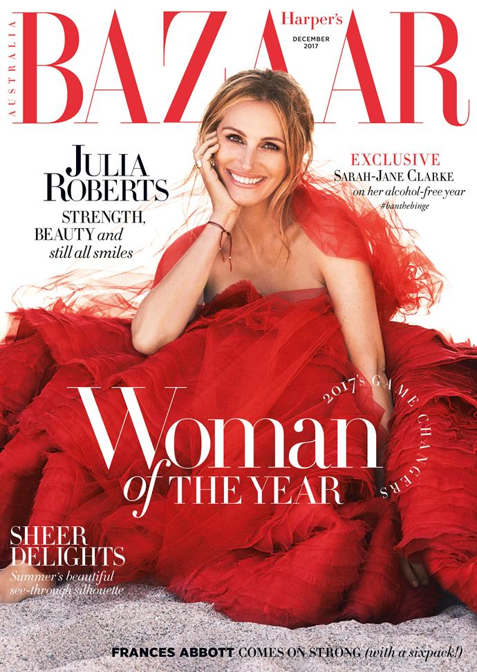*Julia Roberts is the star of our December 2017 issue. Wearing Ralph and Russo and Tiffany & Co. jewellery. Photographed by Alexi Lubomirski. Styled by Miranda Almond. Hair by Serge Normant at Statement Artists. Makeup by Genevieve Herr at Sally Harlor. Manicure by Lisa Jachno at Aim Artist Agency.*
