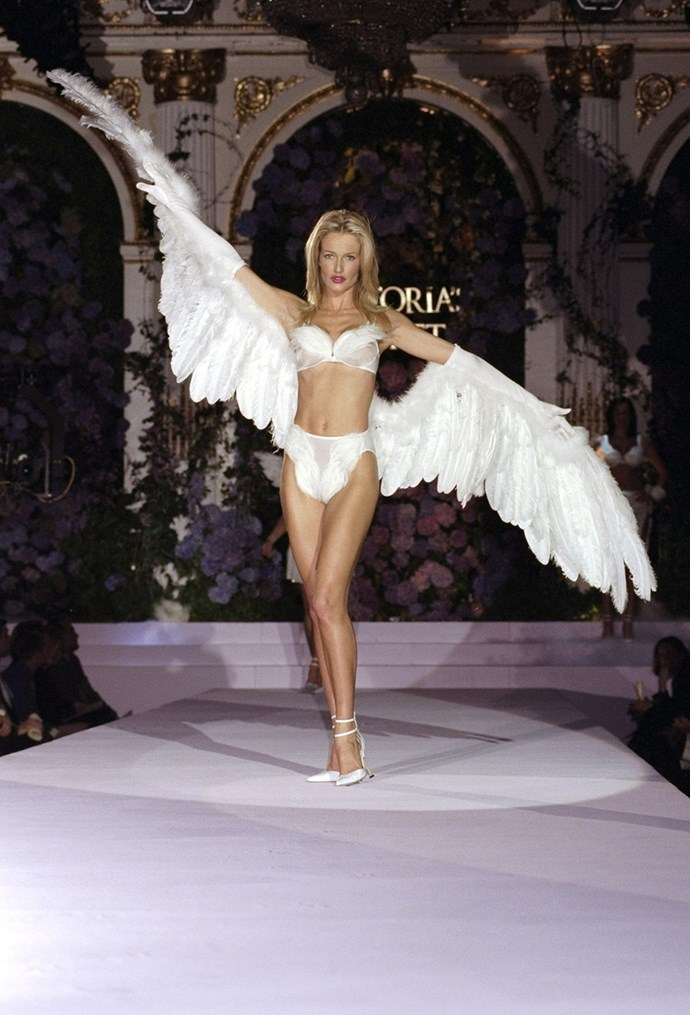 **6. Wings made their first appearance in 1998.** Before Victoria's Secret models graduated to Angel status, the brand carried a line of lingerie called the 'Angel' collection. This is why some of the models wore angel wings in the 1998 show.