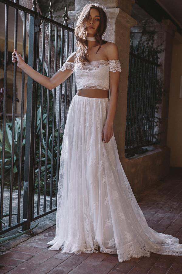 """*Perla Dress*  **What is the one trend you think will define 2018 bridal fashion?** """"I think we'll be seeing a lot of artfully textured embroideries, abstract laces, and lots of sheerness.""""  *Campaign shot by Louise Smit*"""