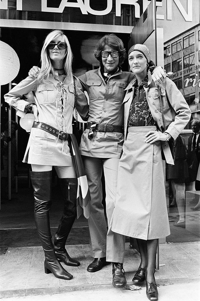 **Yves Saint Laurent and Betty Catroux** <br><br> Over the span of his working years Yves Saint Laurent had many female muses, Victoire Doutreleau and Paloma Picasso included. However, there was one woman who stood out from the rest, Betty Catroux. The two met at Régine's nightclub in Paris in the early days of Laurent's career and were inseparable ever since. Like many YSL muses, she retained a rebellious edge which inspired the basis of many of his designs, including the pantsuit.  Their 35-year relationship was undoubtedly the basis of Laurent's androgynous edge, which later paved the way for contemporary women's fashion. <br><br> *Betty Catroux pictured on the left and Yves Saint Laurent pictured in the middle.*