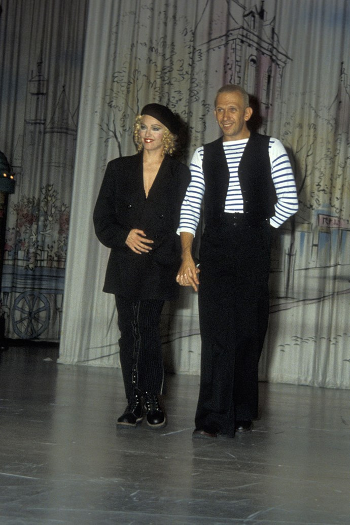 **Jean Paul Gaultier and Madonna** <br><br>  The cone bra, one of Madonna's most famous and recognised stage outfits from her Blonde Ambition tour, was created by Gaultier in 1990. The piece soon launched his career and solidified the duo's relationship. Gaultier went on to design the singer's stage outfits for many more tours, and she even made an iconic appearance as a  model in his spring summer '95 collection.