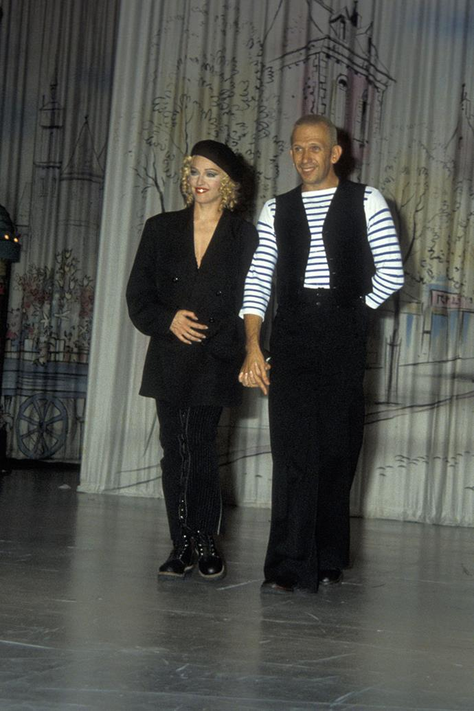 **Jean Paul Gaultier and Madonna** <br><br>  The cone bra—one of Madonna's most famous and recognised stage outfits from her Blonde Ambition tour—was created by Jean Paul Gaultier in 1990. The piece soon launched Gaultier's career, and solidified his relationship with the iconic performer. <br><br> Gaultier went on to design stage outfits for many of Madonna's concert tours, and she even made an appearance as a model in his spring summer '95 collection. After almost 30 years of friendship, they attended the 2018 Met Gala together (Madonna wearing one of Gaultier's designs, of course).