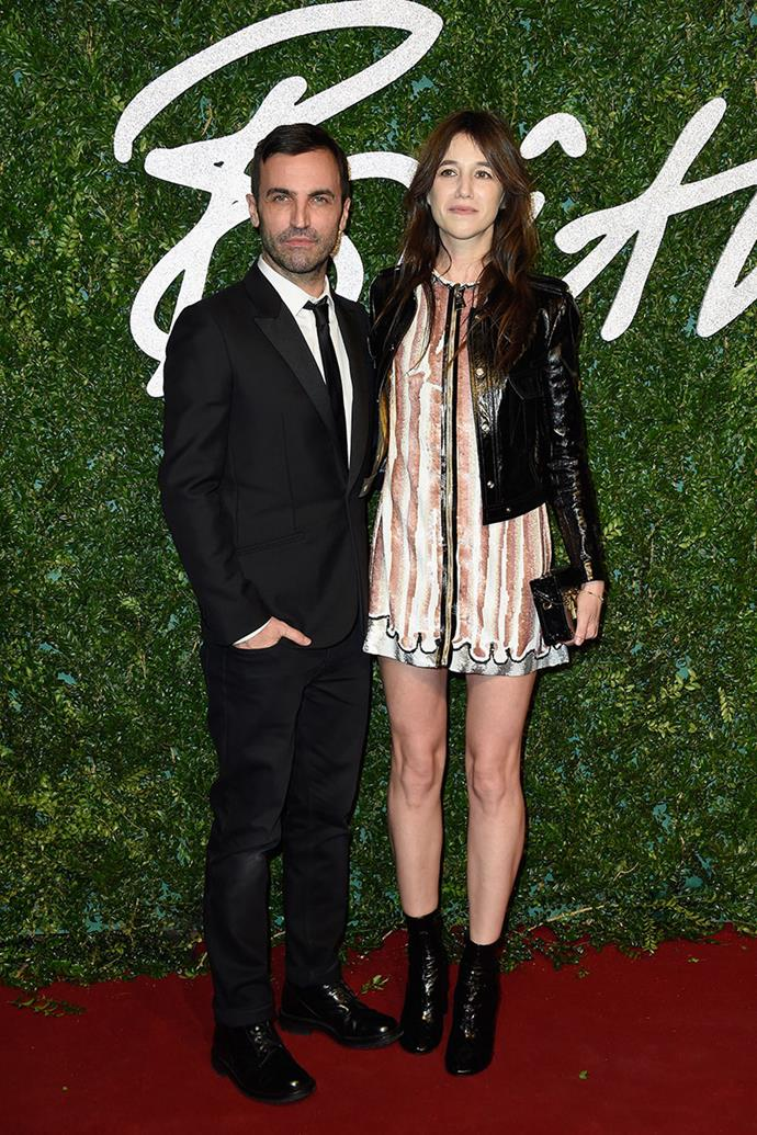 **Nicolas Ghesquière and Charlotte Gainsbourg** <br><br> Gainsbourg, the daughter of Jane Birkin, and Ghesquière have had a designer/muse relationship that has spanned through Ghesquière's years at Balenciaga and now, Louis Vuitton. Gainsbourg has modelled for Balenciaga's perfume L'Essence and Louis Vuitton's Series 1 campaign.