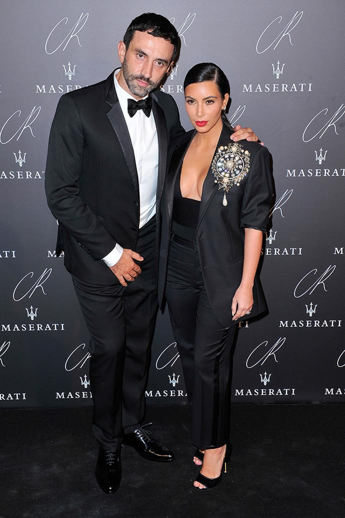 """**Riccardo Tisci and Kim Kardashian** <br><br> There's no denying that former Givenchy creative director Riccardo Tisci's relationship with Kim Kardashian is truly iconic. The reality TV star sported many of his creations, including her half-a-million dollar couture wedding gown in 2014, but that didn't mean his reputation didn't get questioned in the process.  <br><br> """"I didn't care what people thought about Kim,"""" Tisci told [*Details*](  http://www.details.com/blogs/daily-details/2015/02/riccardo-tisci-givenchy-interview.html