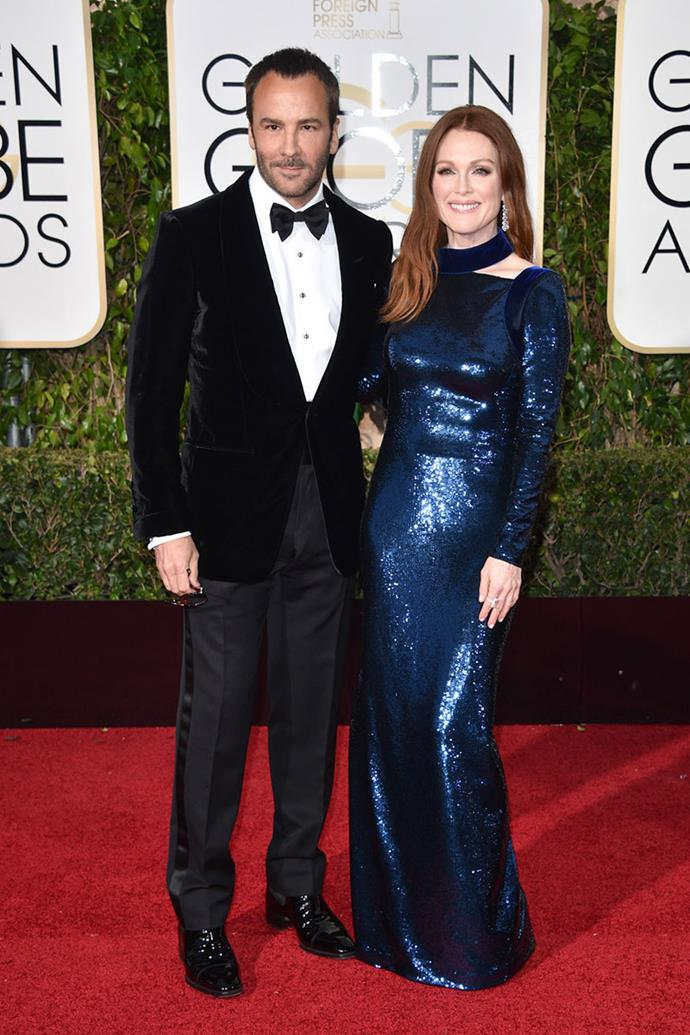 **Tom Ford and Julianne Moore** <br><br> Tom Ford has worked with an array of A-list stars but his relationship with Julianne Moore is one to watch. The designer regularly dresses the actress for red carpet appearances, making her one of the most stylish A-lister's in the industry. Ford also gave Moore a lead role in his directorial debut *A Single Man*.
