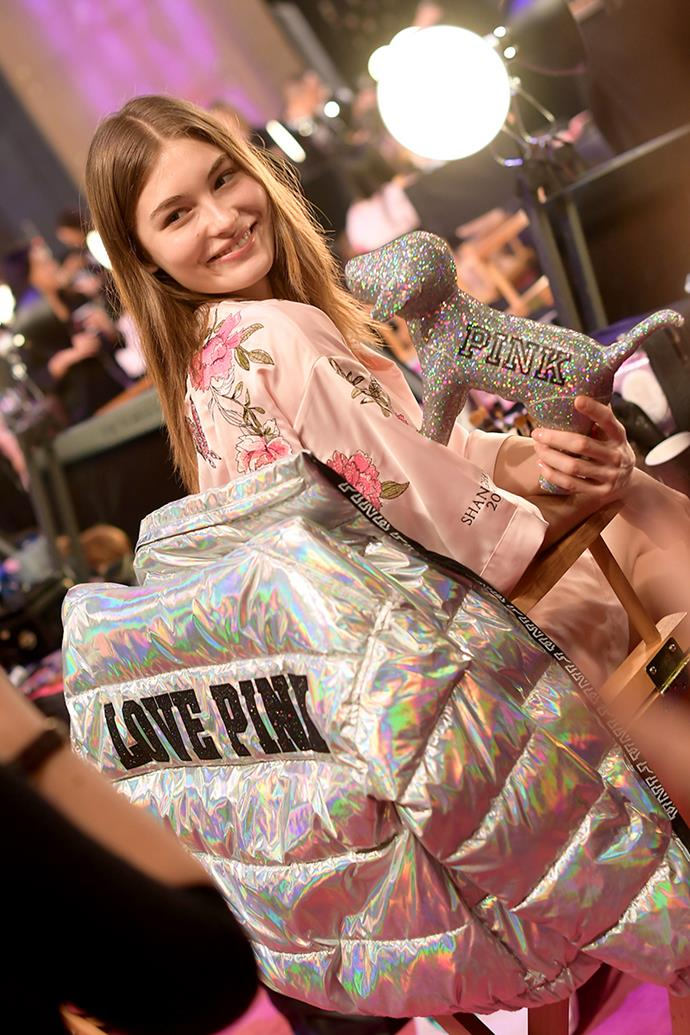 Grace Elizabeth backstage at the 2017 Victoria's Secret Fashion Show.