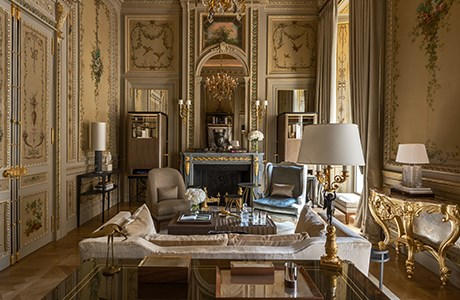 "**Hotel de Crillon** <br><br> The Hotel de Crillon features two suites which have been designed by Karl Lagerfeld. The rooms embody French architecture and styling, equipped with vintage chandeliers, wood-panelled walls and French Imperial mirrors. <br><br> Image via [Rosewood Hotels](  https://www.rosewoodhotels.com/en/hotel-de-crillon|target=""_blank"")."