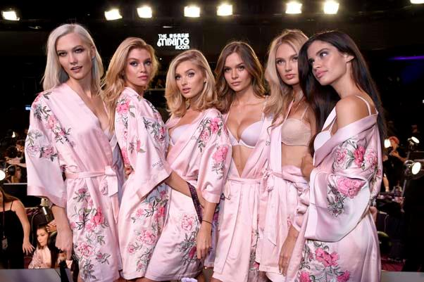 Karlie Kloss, Stella Maxwell, Elsa Hosk, Romee Strijd and Sara Sampaio backstage at the 2017 Victoria's Secret Fashion Show.