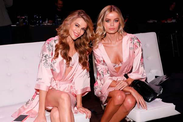 Megan Williams and Frida Aasen backstage at the 2017 Victoria's Secret Fashion Show.