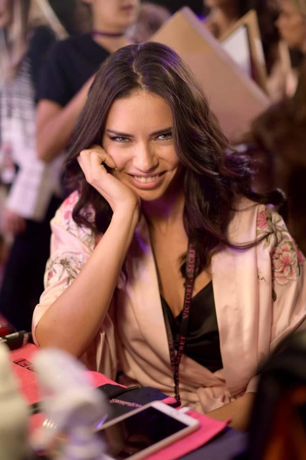 Adriana Lima backstage at the 2017 Victoria's Secret Fashion Show.