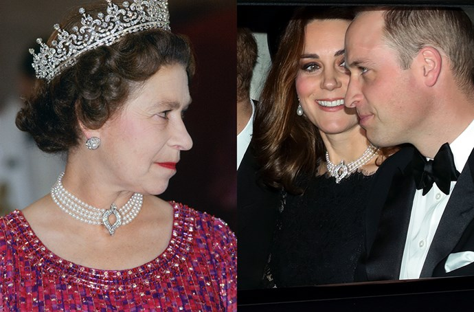 **The Four Row Japanese Pearl Choker**<br><br> To celebrate the Queen and Prince Philip's platinum anniversary, Kate was loaned the Four Row Japenese Pearl Choker for the first time—a favourite of both the Queen and of Diana, Princess of Wales. The choker, which is clasped with diamonds in a marquise shape at the center, was made from cultured pearls given to the Queen by the Japanese government sometime in the '70s. This is the first time the necklace has been loaned out since Princess Diana's death.