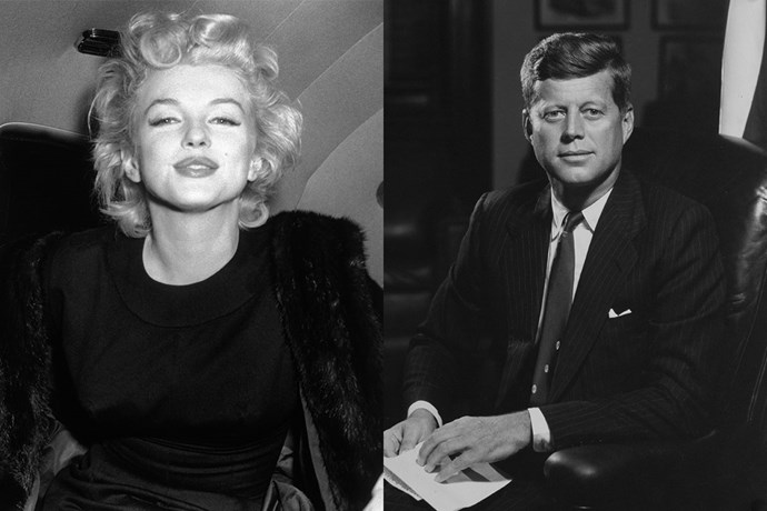 """**Marilyn Monroe and John F. Kennedy** <br><br> Rumours first circulated that the two had an affair when the President was married to Jackie Kennedy, which were further spurred by Monroe's sultry performance of """"Happy Birthday"""" to the president. It was also rumoured that Monroe had an affair with JFK's brother, Attorney General Robert F. Kennedy. It was believed that the circulation of these affairs led Monroe to her suicide."""