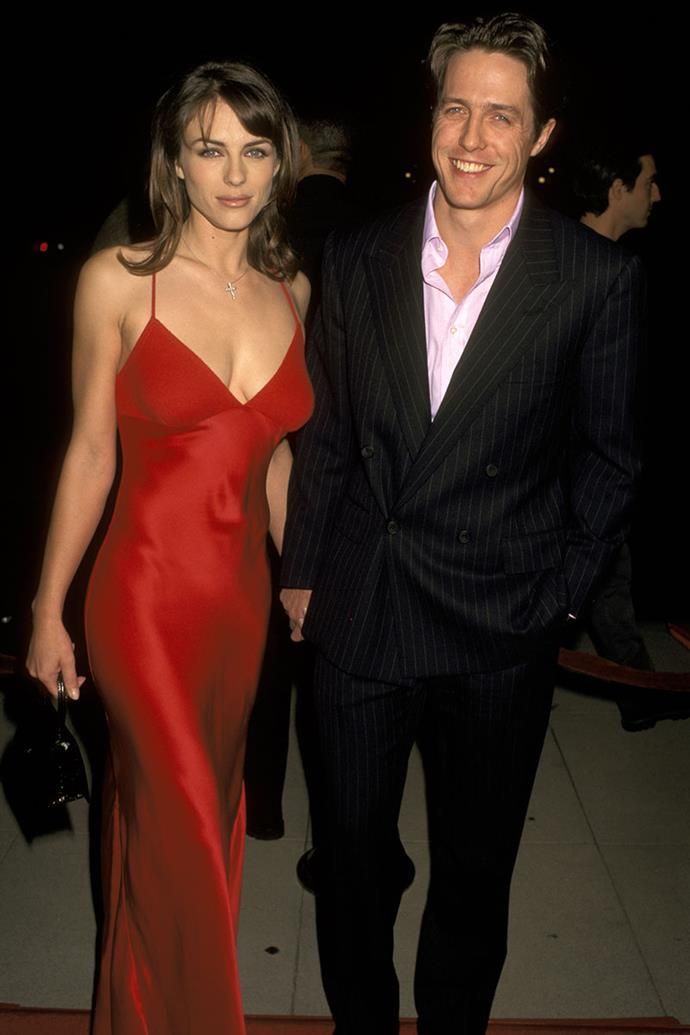 "**Hugh Grant and Elizabeth Hurley** <br><br> In 1995, Grant was arrested in Los Angeles for misdemeanour lewd conduct in a public place, with Hollywood prostitute Divine Brown—he was in a relationship with Hurley at the time. The actor pleaded no contest and paid a fine. Some days later he appeared on *The Tonight Show*, where he said, ""I did a bad thing,"" which saved his career and saw public forgiveness. Although Hurley forgave Grant initially, they later split in 2000."