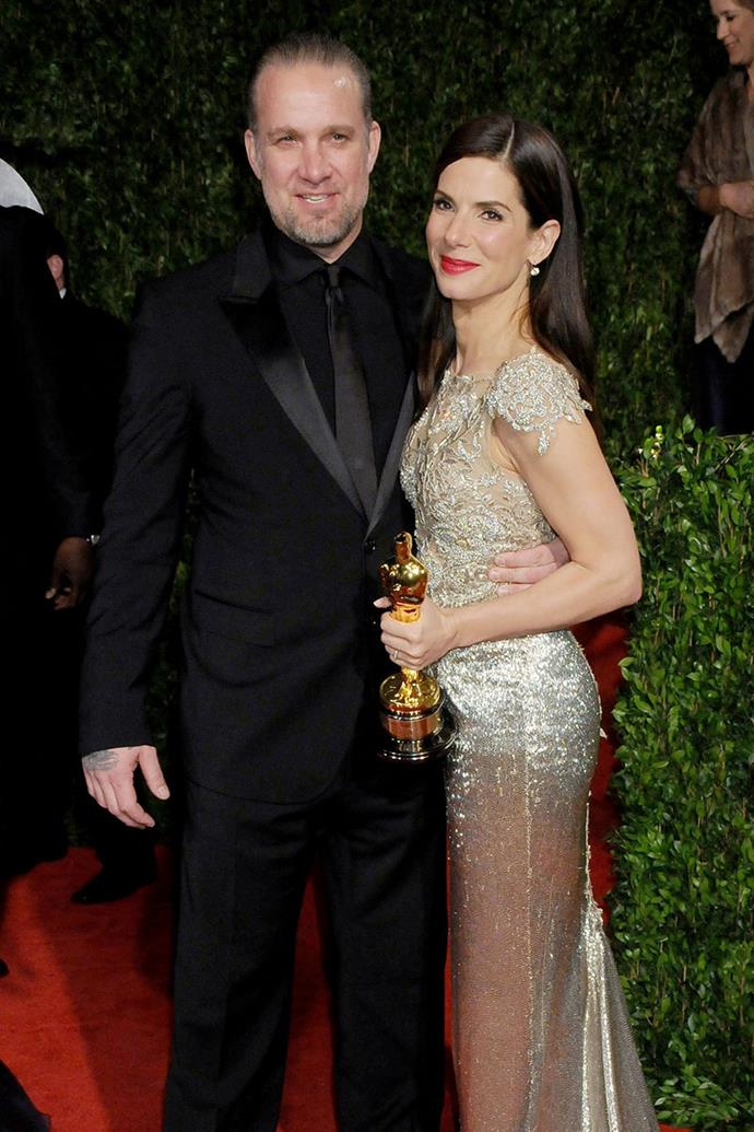 **Sandra Bullock and Jesse James** <br><br> Several years after Sandra Bullock married Jesse James, a motorcycle customiser, many women claimed to have affairs with James during his relationship with Bullock. Michelle McGee, a dancer, revealed that she had sex with James on the couch in his office behind Bullock's back. As a result of the rumours, James soon confessed and issued a public apology asking for forgiveness. Bullock filed for divorce in April, 2010 and then adopted a baby boy as a single mother.