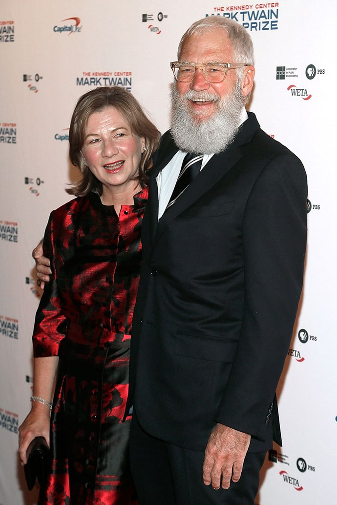 """**David Letterman and Regina Lasko** <br><br> In 2009, six months after marrying long-time girlfriend Regina Lasko, *The Late Show* host admitted to being involved in a sex scandal. He admitted on the show that he """"had sex with women who work for me on this show."""" He later spoke to Oprah about dealing with the fallout from cheating on his wife and mother of his son: """"I'm still trying to fix it."""""""