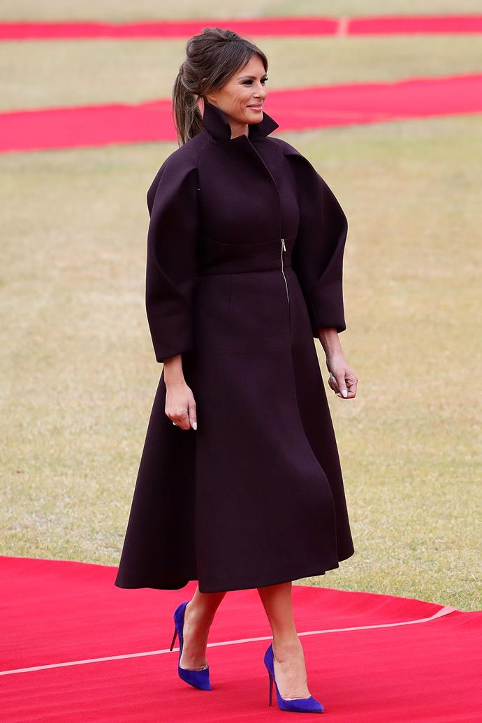 In a Delpozo coat dress while visiting South Korea, November 2017.
