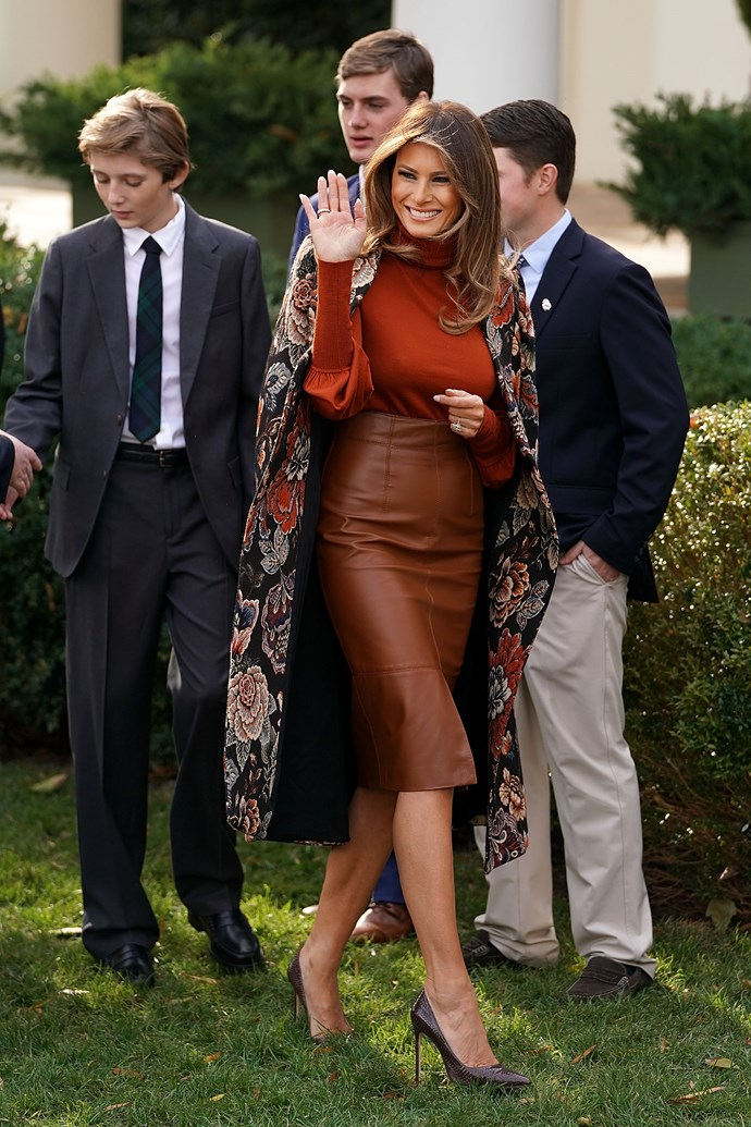 In a Stella McCartney coat for the annual White House turkey pardon, November 2017.
