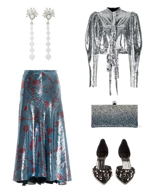 "**Earrings**, $500 at [Moda Operandi](https://www.modaoperandi.com/erickson-beamon-fw17/sincerely-yours-24k-gold-plated-crystal-and-pearl-earrings?size=OS|target=""_blank""), Johanna Ortiz Skirt, $1,453 at [Moda Operandi](https://www.modaoperandi.com/johanna-ortiz-fw17/lucy-in-the-sky-sequin-skirt|target=""_blank""), **Blouse**, $503 at [Farfetch](https://www.farfetch.com/au/shopping/women/brognano-cropped-sequin-shirt--item-12412617.aspx?storeid=9847&from=search|target=""_blank""), **Bag**, $1,295 at [Net-a-Porter](https://www.net-a-porter.com/au/en/product/983303|target=""_blank""), **Shoes**, $648 at [Matches](https://www.matchesfashion.com/au/products/1168864|target=""_blank"")"