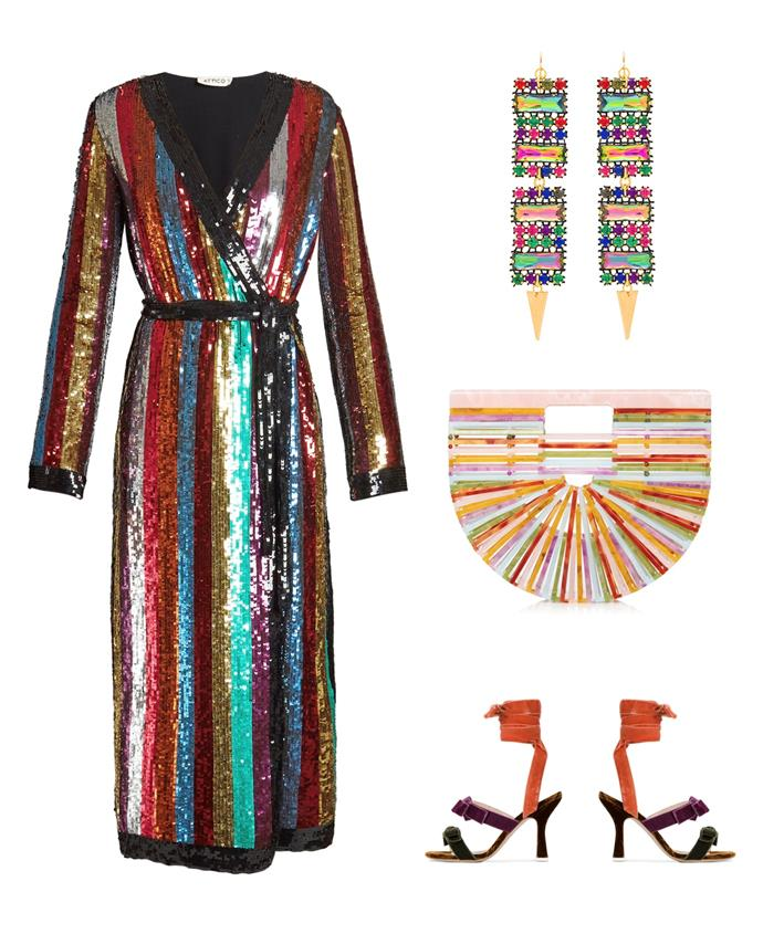 "**Dress**, $2,330 at [Farfetch](https://www.farfetch.com/au/shopping/women/attico-sequin-embellished-midi-dress-item-12280222.aspx?storeid=9359&from=search|target=""_blank""), **Earrings**, $73 at [Revolve](http://www.revolveclothing.com.au/vanessa-mooney-x-revolve-gemstone-earrings/dp/VMOO-WL480/?d=Womens&page=1&lc=34&itrownum=12&itcurrpage=1&itview=01|target=""_blank""), **Bag**, $405 at [Moda Operandi](https://www.modaoperandi.com/cult-gaia-r18/small-multi-acrylic-ark?size=OS|target=""_blank""), **Shoes**, $500 at [Farfetch](https://www.farfetch.com/au/shopping/women/attico-velvet-diletta-bolero-bow-105-sandals-item-12280288.aspx?storeid=9359&from=1|target=""_blank"")"