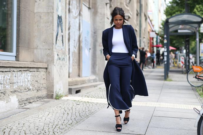 **EMBRACE FLARES** <br><br> If you're afraid of straying away from a dress, try **flared trousers**—the freedom of wearing pants, but the flowiness that flares provide, make for a lot of fun (more fun than you probably need while working). Brands like **Ellery** are pioneering the flared-trouser trend, which prove to be as enjoyable as they are suitable for serious business scenarios.