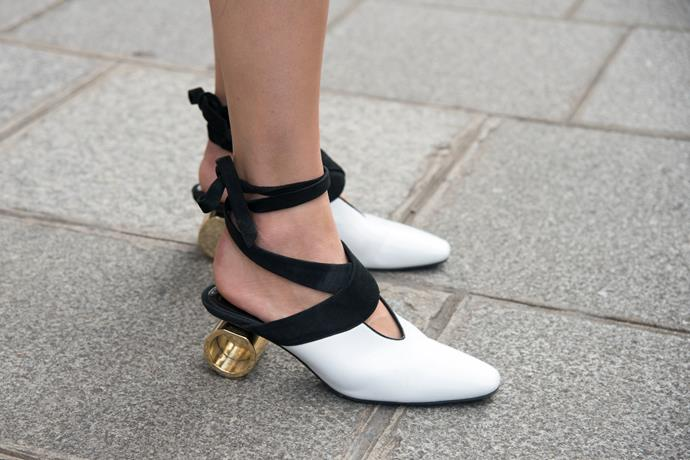 """**DON'T BE AFRAID OF KITTEN HEELS** <br><br> Today's kitten heels come in all shapes and sizes, like this **J.W. Anderson** pair ($2,655, [*Farfetch*](https://www.farfetch.com/au/shopping/women/jw-anderson-cylinder-heel-ballet-mules-item-12427715.aspx?storeid=9475&from=1