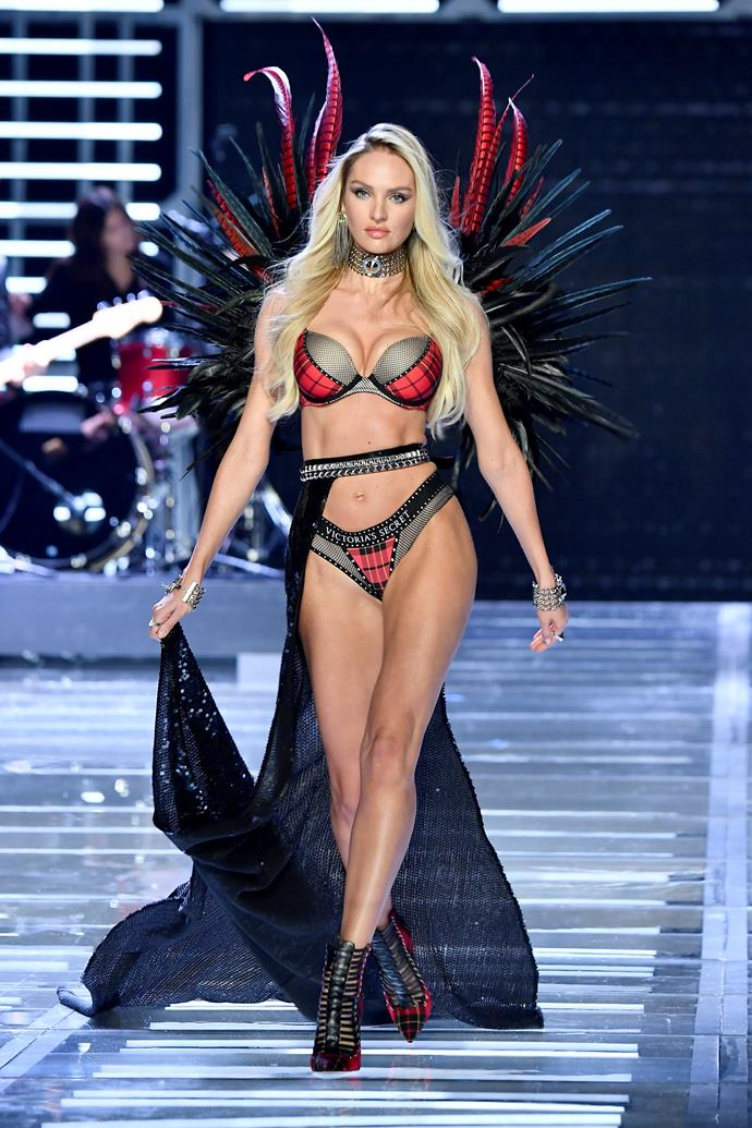 Candice hit the runway at the 2017 Victoria's Secret Fashion Show, 13 months after giving birth to her son, Anacã.