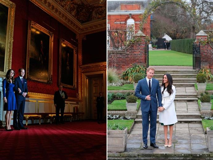 **The setting**<br><br>  While Kate and William chose to hold their photocall inside a grand room of St James' Palace, Harry and Meghan opted for something a little more low key - in the gardens of Kensington Palace, the place all four royals now call home. <br><br> Despite the bad weather, the couple decided to hold the photoshoot outside, which - whether intentional or not - gave it all a much more informal feel than the rather majestic hall that William and Kate stood in for their engagement.